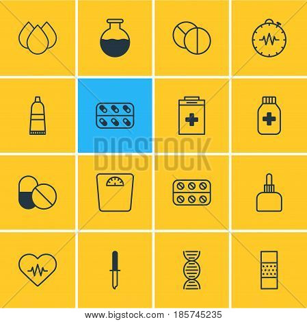 Vector Illustration Of 16 Health Icons. Editable Pack Of Heart Rhythm, Antibiotic, Vial And Other Elements.