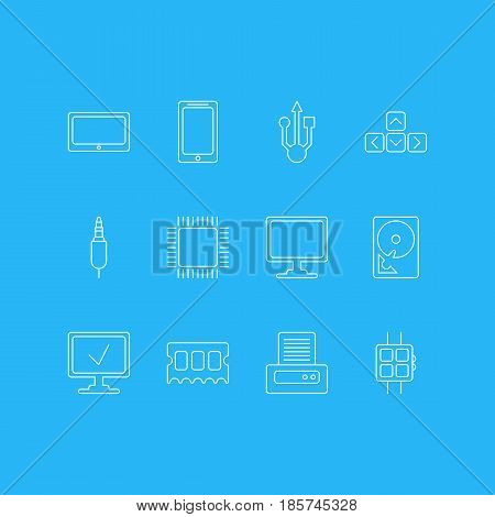 Vector Illustration Of 12 Computer Icons. Editable Pack Of Keypad, Printer, Microprocessor And Other Elements.