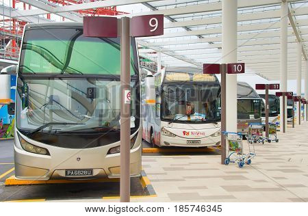 Bus Parking At Airport. Singapore