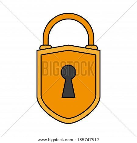 color image cartoon padlock with shield body and shackle vector illustration