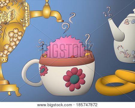cartoon monster drying tea cup samovar teapot