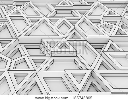 Equilateral Triangles - White Abstract Background