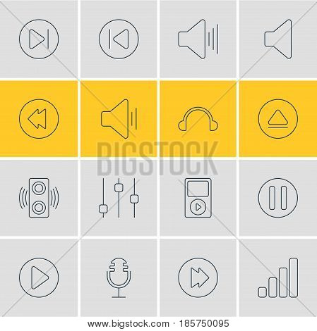 Vector Illustration Of 16 Melody Icons. Editable Pack Of Stabilizer, Subsequent, Mp3 And Other Elements.