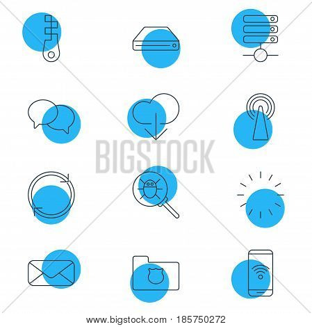 Vector Illustration Of 12 Web Icons. Editable Pack Of Waiting, Bug, Telephone And Other Elements.