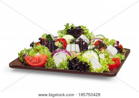 Salad. Mediterranean Salad with Feta Cheese, Tomatoes and Olives