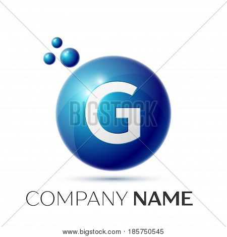 G Letter splash logo. Blue dots and circle bubble letter design on grey background. Vector Illustration