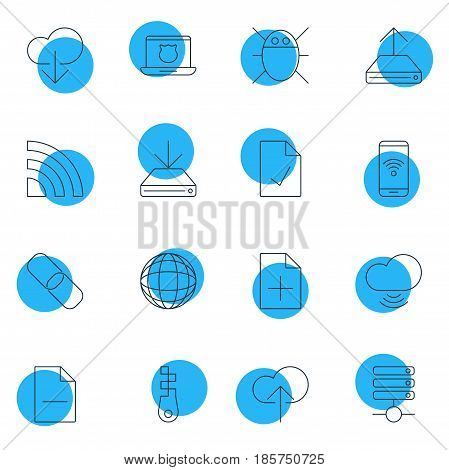 Vector Illustration Of 16 Network Icons. Editable Pack Of Chain, Server, Hdd Sync And Other Elements.