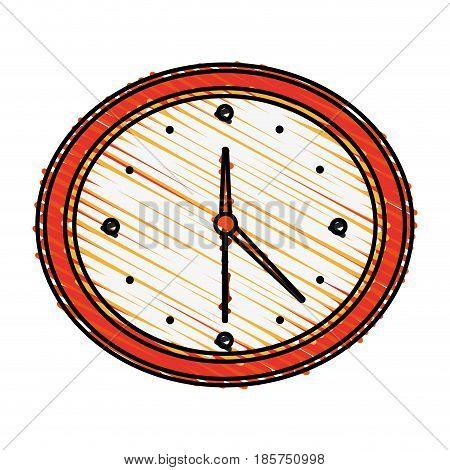 color crayon stripe cartoon analog wall clock vector illustration