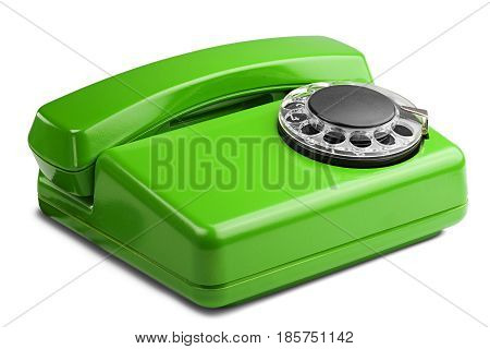 Landline Green Phone On A Isolated White Background