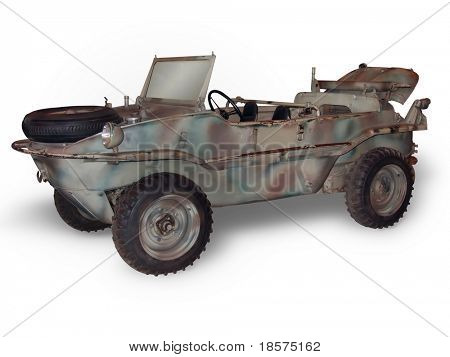 A VW Schwimmwagen (amphibious car) from WWII. (This JPEG file includes a clipping path to isolate the vehicle and remove the shadow.)