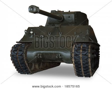 An American M4 Sherman main battle tank from WWII. (This JPEG file includes a clipping path to isolate the tank and remove the shadow.)