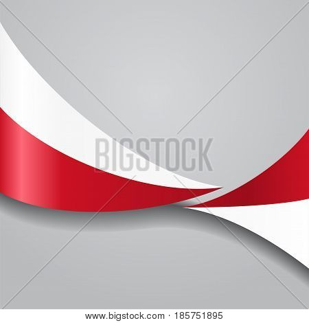 Polish flag wavy abstract background. Vector illustration.