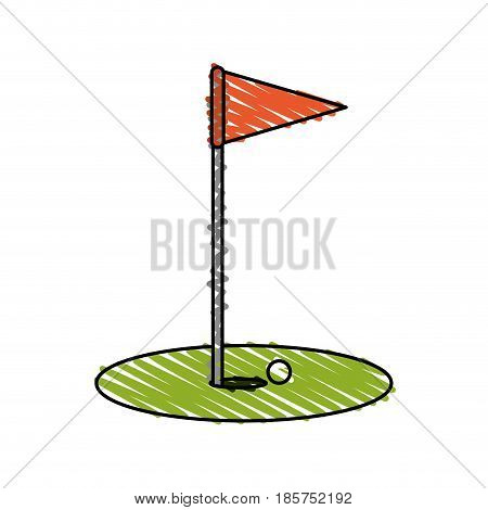 color crayon stripe cartoon golf flag with hole and ball vector illustration