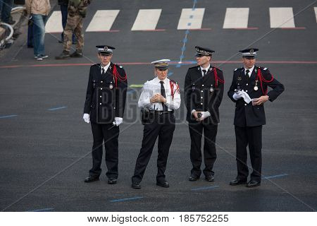 Paris France - July 14 2012. The police organize the annual military parade in honor of the Bastille Day in Paris.