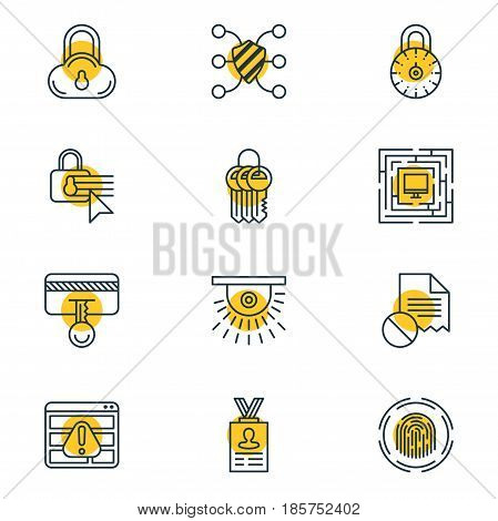 Vector Illustration Of 12 Privacy Icons. Editable Pack Of System Security, Safeguard, Data Error And Other Elements.