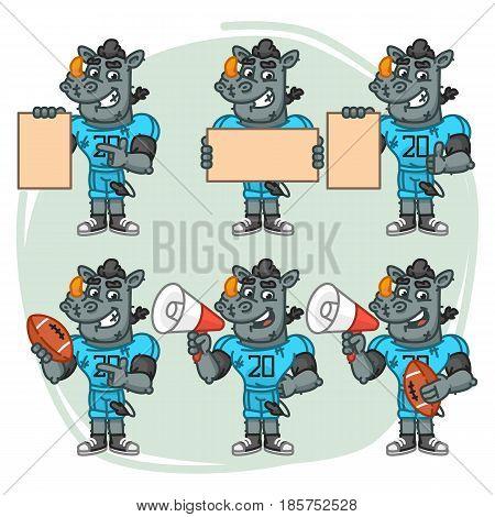 Character Set Rhino Football Player Holds Megaphone Ball Paper