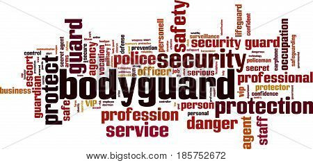 Bodyguard word cloud concept. Vector illustration on white