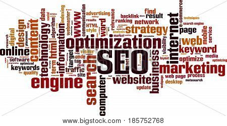 SEO word cloud concept. Vector illustration on white