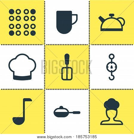 Vector Illustration Of 9 Cooking Icons. Editable Pack Of Cooker, Chef Hat, Teakettle And Other Elements.