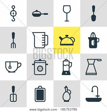 Vector Illustration Of 16 Cooking Icons. Editable Pack Of Steamer, Wine, Tablespoon And Other Elements.