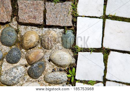 Wall Milan   Italy Old   Church Grass Background  Stone