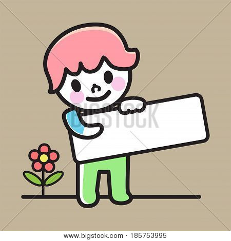 Happy boy holding blank paper, smiling boyholding an empty signage, vector illustration.