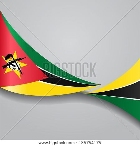 Mozambique flag wavy abstract background. Vector illustration.
