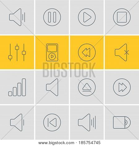 Vector Illustration Of 16 Melody Icons. Editable Pack Of Soundless, Rewind, Decrease Sound And Other Elements.