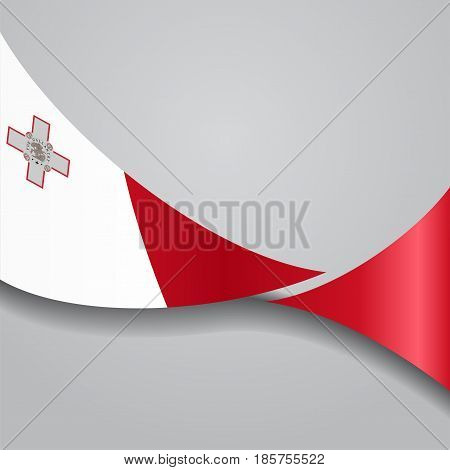 Maltese flag wavy abstract background. Vector illustration.