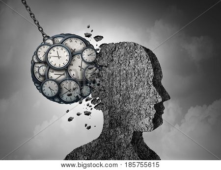 Time and stress and business pressure concept as a group of clock objects destroying cement shaped as a human head as a work fatigue and exhaustion metaphor with 3D illustration elements.
