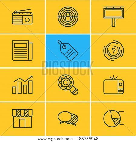 Vector Illustration Of 12 Advertising Icons. Editable Pack Of Advertising Billboard, Analysis, Statistics And Other Elements.