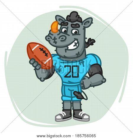 Rhino Football Player Holds Ball