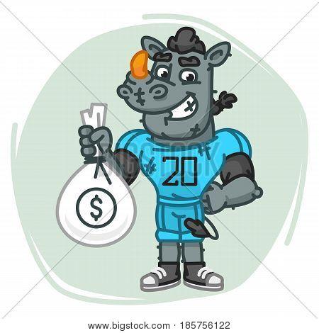 Rhino Football Player Holds Money Bag