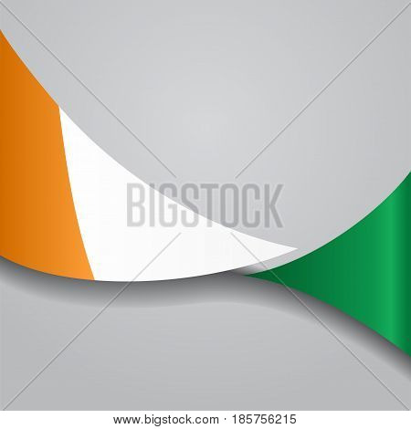 Cote d Ivoire flag wavy abstract background. Vector illustration.
