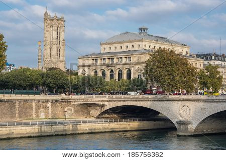 PARIS FRANCE - OCTOBER 11 2015: Pont au Change across the Seine river in the historical centre of Paris the capital and most visited city of France