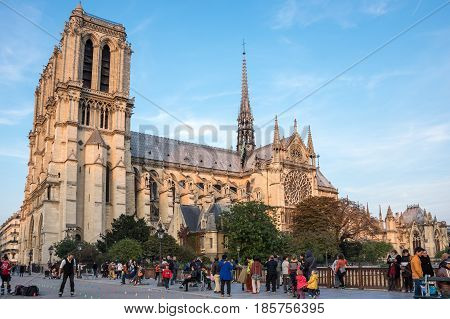 PARIS FRANCE - OCTOBER 11 2015: Notre-Dame de Paris (French for