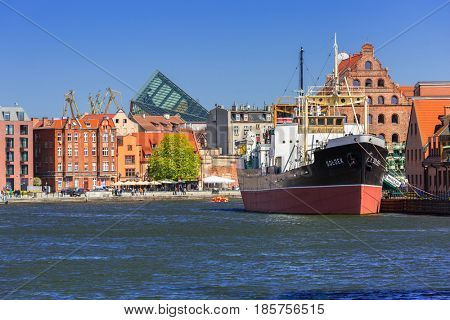 GDANSK, POLAND - MAY 2, 2017: SS SOLDEK on Motlawa river in Gdansk. SS SOLDEK is the first ship built in Poland after World War II. Currently is preserved as a museum ship in Gdansk.