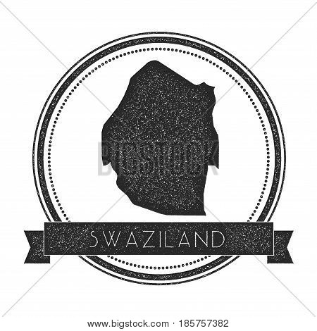 Retro Distressed Swaziland Badge With Map. Hipster Round Rubber Stamp With Country Name Banner, Vect