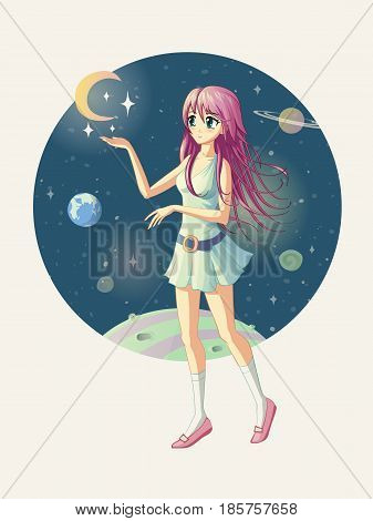 Vector illustration of the anime girl against the background of space where the stars are near her hand.