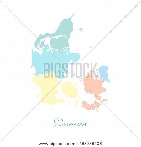 Denmark Region Map: Colorful With White Outline. Detailed Map Of Denmark Regions. Vector Illustratio