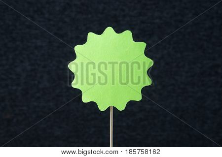 Green shaped circle cut from cardboard on a wooden stick. Template for round paper badge, label, sign, plague or design element with dark gray background and empty blank copy space. Handcraft banner.