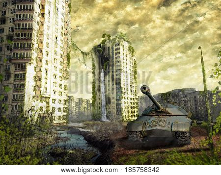 The tank in the ruins of the city. Apocalyptic landscape.3d illustration concept