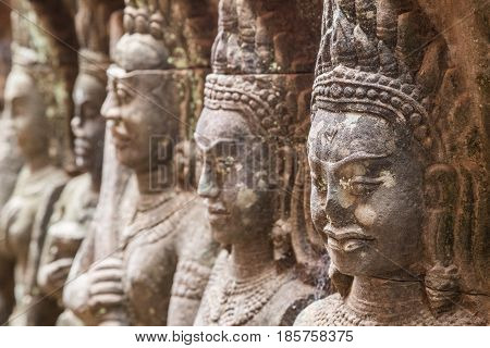 Up close: Terrace of the leper king in Cambodia's Siem Reap park
