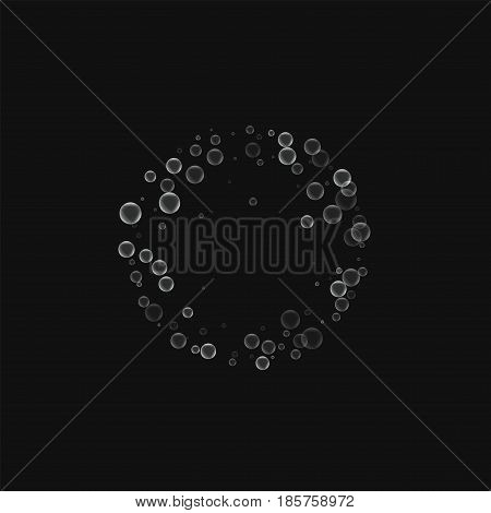 Soap Bubbles. Small Round Frame With Soap Bubbles On Black Background. Vector Illustration.