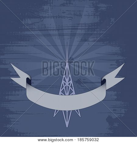 vector illustration - silhouette radio station on grunge background. white and purple color. waving ribbon for text