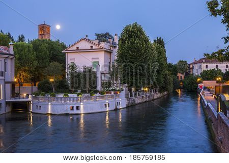 Beautiful evening in Treviso, Italy. Amazing view.