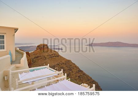 SANTORINI, GREECE - CIRCA AUGUST, 2015: view of Andromeda Villas at morning. Andromeda Villas is a hotel are situated in Imerovigli, Santorini island.