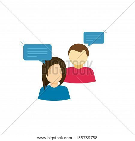 Couple talking vector icon, flat cartoon style two person talk with bubble speeches, woman and man polite discussion, girl and boy conversation together isolated on white background