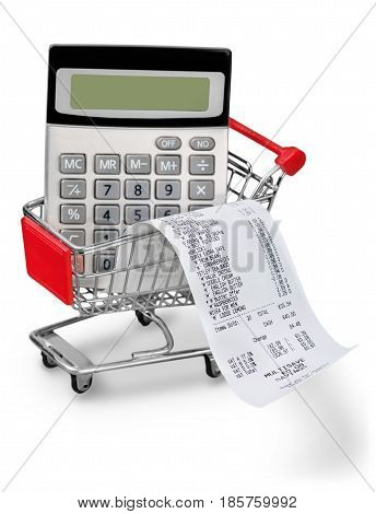 Cash Register Receipt and Calculator in a Shopping Cart