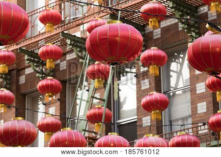 Red (fire) Chinese Lanterns. Chinatown, San Francisco, California, USA.